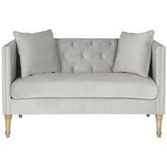 @Overstock - Safavieh Sarah Grey Tufted Settee - A loveseat to love at first sight, the Sarah tufted settee is a transitional update of classic chesterfield and tuxedo sofa styles.  http://www.overstock.com/Home-Garden/Safavieh-Sarah-Grey-Tufted-Settee/9549809/product.html?CID=214117 $559.99