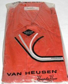 Vintage Van Heusen Bradley Hampshire House Euroflair Orange Mod Shirt 1960s 1970s New!