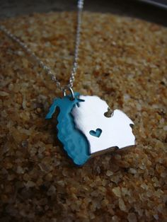 Sterling Silver Michigan with Lake Michigan Personalize the Location of the Heart