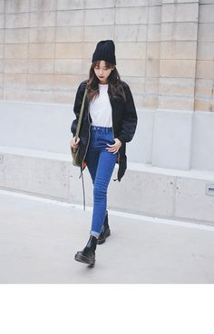 blue jeans + white top + black bomber + boots + beanie