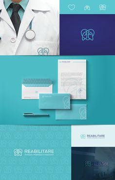 Identidade visual completa desenvolvida para Reabilitare Prevenção e Reabilitação Cardiopulmonar.  Logo e papelaria.  Porto Alegre – RS