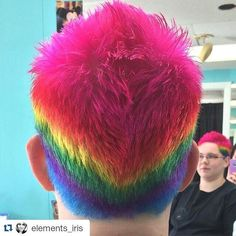 Freaking awesome rainbow pixie faux hawk #nofilterhaircolor #hair #haircolor #pixie #pixiehaircut #pixiehair #texturedhaircut #fauxhawk #rainbowhair #Rainbow #Unicorn #unicornhair #pinkhair #punkrock #salon #salonlife #Repost @elements_iris with @repostapp  #elements_seaislecity #haircolor #seaislecity
