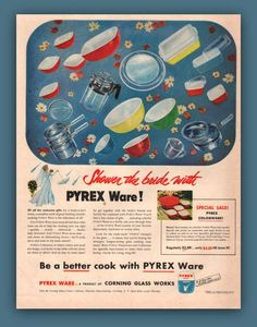 Pyrex Ware vintage print ad ephemera 1952 by catchingcanaries