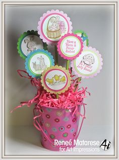 Art Impressions Rubber Stamps: Easter Bucket Display ... handmade Easter basket craft.  Art Impressions stamps and verses ... Chicks, Bunny Front and Back, Bunny and Ducky Mini F & B, Fuzzy Easter, Easter Wishes, Smell Jelly Beans, Bunny Basket, TryFolds Furries TF