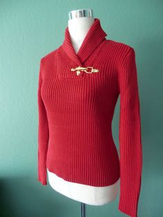 NEW RALPH LAUREN LAUREN BLACK LABEL DEEP RED RIBBED KNIT SHAWL NECK SWEATER PS