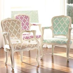 Pottery Barn Teen Lattice Patterned French Arm Chair- I hadn't thought about redoing my French chair in a pattern like this, but it's lovely (and already the same color as my paint!)