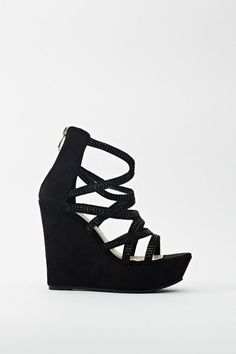 Cut Out Encrusted Wedge Sandals