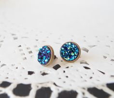 Blue druzy stud earrings Druzy post Druzy by NewJewelleryStory