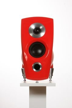 """Terra Mk3 in Ferrari Red color. Exclusive High End loudspeaker. The best small loudspeaker you can buy. State of the art design, perfect craftsmanship and surprisingly powerful and clear sound. Optional 16 000 colors. Aluminium enclosure, composite baffle, CNC machined aluminum horns and feet. Frequency response: 59-25kHz Nominal impedance: 8 ohms Sensitivity: 86db 1 watt/1 meter RMS Power: 150 W Tweeter: 30 mm silk, neodymium Bass-mid: 4"""" neodymium, shielded."""