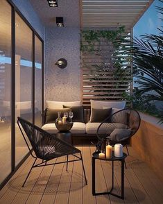 Attractive balcony with parquet hardwood and modern garden furniture. - balcony garden 100 - Attractive balcony with parquet hardwood and modern garden furniture. Apartment Balcony Decorating, Apartment Balconies, Interior Balcony, Apartment Balcony Garden, Apartment Plants, Apartments, Apartment View, Modern Apartment Decor, Urban Apartment