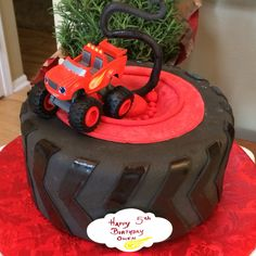 truck blaze tire cake chocolate cake with cookies and cream filling. Blaze Birthday Cake, One Year Birthday Cake, Boy Birthday Parties, 4th Birthday, Torta Blaze, Blaze Cakes, Blaze Monster Machine, Nerf Cake, Truck Cakes