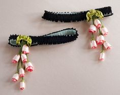 garters embellished with cascading silk ribbon flowers, inspired by a 1920s boue soeurs dress