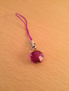 Purple faceted round glass bead charm mobile cell phone charm bag charm purse charm zipper charm keychain lanyard