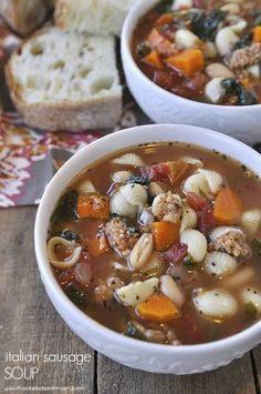 Italian Sausage Soup - a delicious and hearty fall dinner idea. Full of veggies, sausage and pasta. @yourhomebasedmom.com