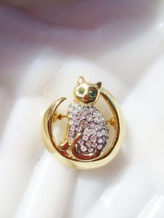 Vintage Cat Brooch Rhinestone Gold Pin via Etsy