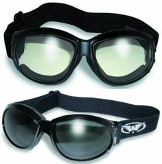2 Eliminator Motorcycle Goggles Clear and Smoke Tinted Plus Pouches/Storage Bags Day...