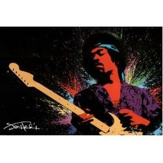 #8: Jimi Hendrix Poster Paint Splash Poster Print, 36x24 Poster Print, 36x24 Music Poster Print, 36x24