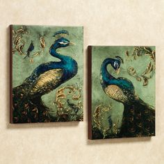 Peacock Themed Home Decor | Home > Peacock Canvas Wall Art Set....I LOVE THESE,THEY'RE STUNNING IN PERSON!!!'Cherie