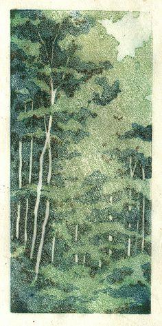 Forest linocut by starkeyart