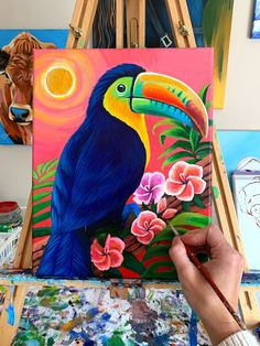 Small Canvas Paintings, Mini Canvas Art, Indian Art Paintings, Animal Paintings, Abstract Animal Art, Lotus Art, Cool Art Drawings, Acrylic Art, Watercolor Art