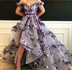 Floral Purple Gown by Dona Matoshi. Shop for beautiful Gowns at Dona Matoshi. Discover a fabulous selection of dresses. High Low Prom Dresses, Cute Prom Dresses, Long Prom Gowns, Ball Dresses, Pretty Dresses, Beautiful Dresses, Ball Gowns, Evening Dresses, High Low Gown