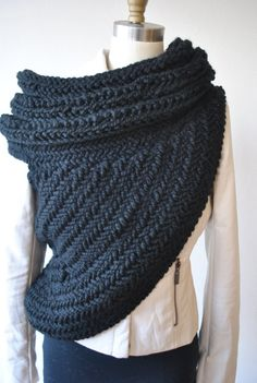 Black KAT Huntress cowl by Kysaa. by KYSAA on Etsy, $165.00