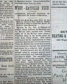 """Historic Newspaper with coverage of the Hatfield-McCoy feud: """"M'Coy - Hatfield Feud"""" """"Another Bloody Battle is Fought in West Virginia"""" """"Three Hatfield Men and Two fo the McCoys Killed - Ten Others Badly Wounded - Three Captives Were to be Shot this Morning"""""""