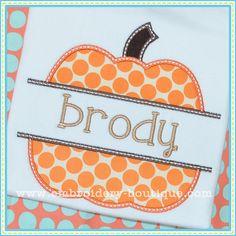 Split Pumpkin Applique-Embroidery Boutique HAVE