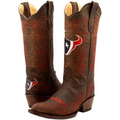 Houston Texans Womens Flyover Pull-Up Cowboy Boots - Brown/Red 364.95