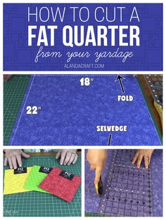 Learn how to cut a fat quarter from your yardage. At fat quarter is a precut piece of fabric measuring x but you can cut your own. Diy Sewing Projects, Sewing Projects For Beginners, Sewing Hacks, Sewing Tips, Sewing Ideas, Sewing Patterns, Quilt Patterns, Quilting For Beginners, Quilting Tips