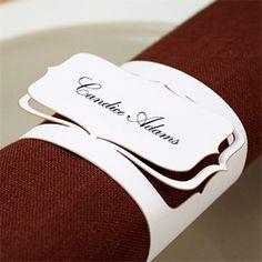 Love this idea - cardstock laser cut napkin rings