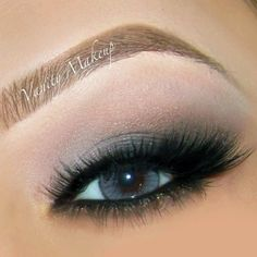 Soft smokey eye, lashes and a soft brow shade to achieve this beautiful makeup.