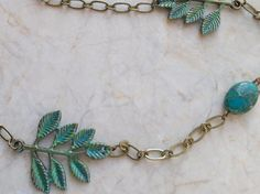 Jasper Leaf Necklace Long Necklace Hand by RenesJewelryArt