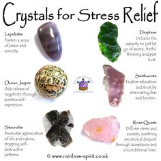Rainbow Spirit crystal shop - My crystal healing poster showing some of the stones with properties that give stress relief.
