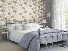 Elegant Bedroom Ideas for Women with Artful Wallpaper Design in Vintage Floral Motif Decoration with Purple White Color