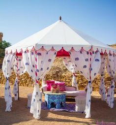 Mehendi Wedding Decor - White Tents for guests with white and blue vintage curtains.  #wedmegood #Mehendi #decor