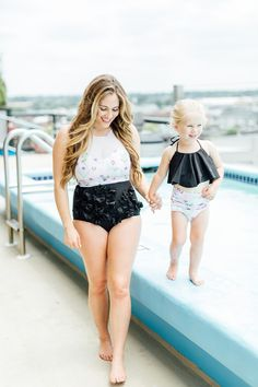 My new favorite swim suit style fromKortni Jeane!   | Mommy and Me | Mama and Mini | Mini Style | Mommy and Mini Style | Summer | Summer Swimsuits | Matching swimsuits |