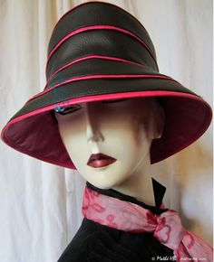 rain hat to order black ebony and pearly fushia by MatheHBcouture