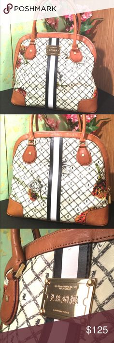 L.A.M.B. Marigold Domed Satchel Great condition. Minor color transfer that's barely noticeable. Handle and interior have been previously repaired. Minor marks on white paint on front and back. L.A.M.B. Bags Shoulder Bags