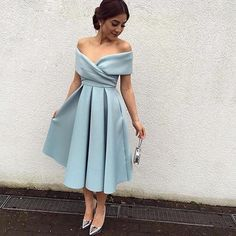 2017 homecoming dresses, A-line homecoming dresses, light blue homecoming dresses, short prom dresses, off shoulder homecoming dresses, party dresses, formal dresses, birthday gowns#SIMIBridal #homecomingdresses