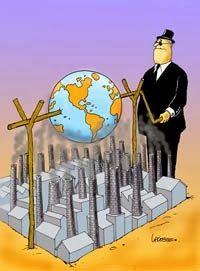 """nosotros gobernamos a la globalizacion o la globalizacion nos gobierna a nosotros.  Es posible hablar de solidaridad y de que """"estamos todos juntos"""" en una economia que esta basada en una competencia despiadada.} El hombre no gobierna hoy las fuerzas que ha desatado, las fuerzas que ha desatado lo gobiernan."""