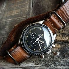 Omega Speedmaster Pro on a nice looking distressed leather nato strap - mens watches for cheap, branded watches for sale, croton watches *sponsored https://www.pinterest.com/watches_watch/ https://www.pinterest.com/explore/watches/ https://www.pinterest.com/watches_watch/kids-watches/ http://www.cartier.com/en-us/collections/watches.html