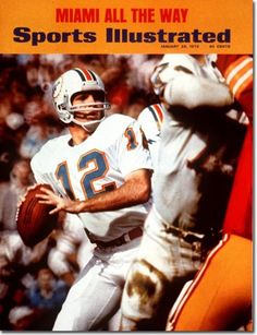 Bob Griese Sports Illustrated cover 1973. Miami Dolphins.  Bob Griese, QB, earned All-American honors with the Purdue Boilermakers before being drafted in 1967 by the Miami Dolphins. Griese led the Dolphins to 3 consecutive Super Bowl appearances, including two Super Bowl victories (VII and VIII). Griese's was inducted into the College Football Hall of Fame in 1984 and the Pro Football Hall of Fame in 1990.  QB of the only unbeaten season in NFL history, leading the Dolphins to a 17 - 0…