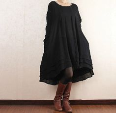 Hey, I found this really awesome Etsy listing at https://www.etsy.com/listing/170750478/black-dress-linen-dress-autumn-dress