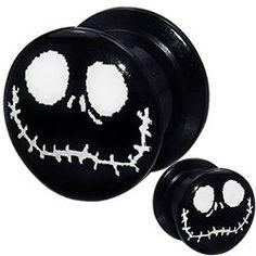 $2.99 on Sale (1 Pair) 8g 6g 4g 2g 0g 00g 1/2 9/16 5/8 11/16 3/4 inch ear plugs and tunnels gauges flare tapers spiral 8 6 4 2 0 00 gauges nightmare before christmas jack skellington halloween plugs tunnels