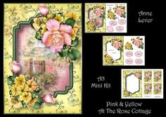 Pink Yellow At The Rose Cottage on Craftsuprint designed by Anne Lever - This lovely mini kit makes an A5 sized topper with extra frame, decoupage, seven greetings, a blank greetings tile, four gift tag toppers and a matching insert. It features beautiful pink and yellow flowers with a rose cottage backdrop. - Now available for download!