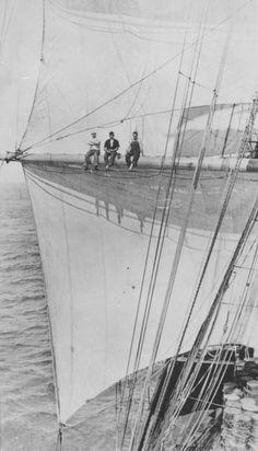 3 ABs on the main sail port yard arm