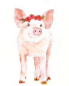 Pig Print, Watercolour Pig, Animal with Flowers, Nursery Animal Print, Girls Room Decor, Farm Animal Print, Cute Pig Print by BreezyBirdGoodies on Etsy