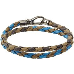 Tods Braided Leather Bracelet (£135) ❤ liked on Polyvore featuring men's fashion, men's jewelry, men's bracelets, multicolor, mens leather braided bracelets and mens leather bracelets