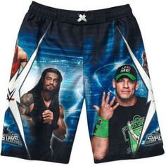 WWE Superstars John Cena Boardshorts Swim Trunks, Black